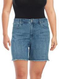 Plus Long Frayed Hem Denim Shorts