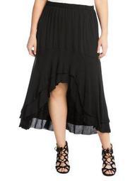 Plus Asymmetric Raw Hem Skirt