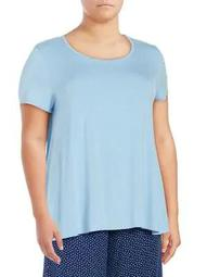 Plus Short-Sleeve Pleated Tee