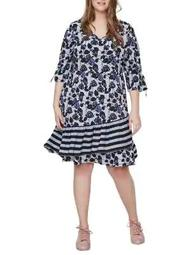 Plus Lea Three-Quarter Sleeve On-Knee Dress