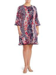 Plus Floral Bell-Sleeve Dress