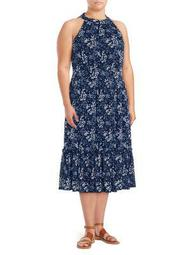 Plus Printed Halter Midi Dress