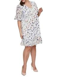 Plus 318 Boena Short-Sleeve Above Knee Dress