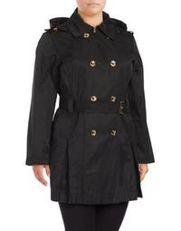 Plus Hooded Double-Breasted Trench Coat