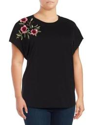 Plus Embroidered Cotton Tee