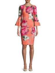 Plus Floral Bell-Sleeve Sheath Dress