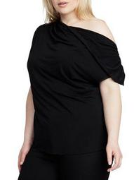 Plus Christina Asymmetrical Neck Top