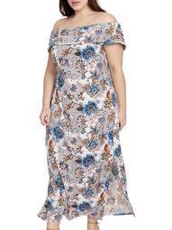 Plus Wonderlust Off-the-Shoulder Midi Dress