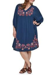 Plus Embroidered Puff-Sleeve Dress
