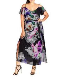 Plus Printed Cold Shoulder Dress