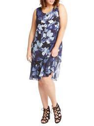 Sleeveless Floral Hi-Lo Midi Dress