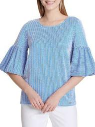 Plus Bell-Sleeve Seersucker Top