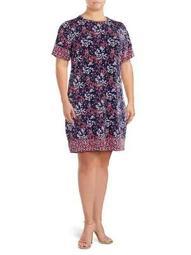 Plus Scattered Bloom Floral Dress