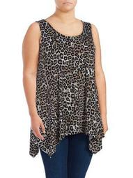 Plus Printed Sharkbite Hem Top