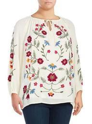 Plus Floral Raglan-Sleeve Top