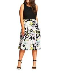 Plus Sleeveless Floral-Print Dress