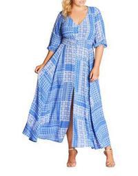 Plus Printed Shirred Maxi Dress