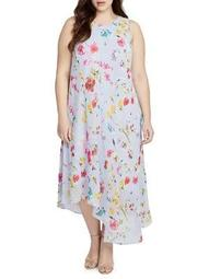 Plus Floral Scarf Dress