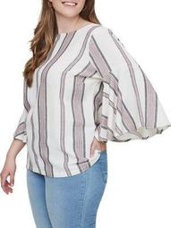 Plus Valdeza Three-Quarter Sleeve Blouse