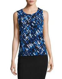 Pleated Brush-Print Sleeveless Top