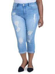 Plus Distressed Straight-Leg Crop Jeans
