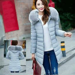 7258d283442 Grey Plus Size Medium-Long Cotton Outerwear Winter Coats Women With Big Fur  Collar Down