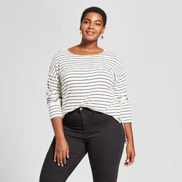 069b19bdcdb Ava   Viv™ Women s Plus Size Striped Long Sleeve Drapey