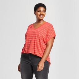 5d417ce8f3d Ava   Viv™ Women s Plus Size V-Neck Cap Short Sleeve T-Shirt -
