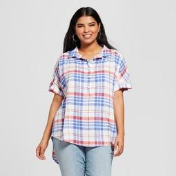 Ava & Viv™ Women\'s Plus Size Plaid Short Sleeve Resort Shirt - Ava & Viv™  Red/White/Blue - On Sale for $16.08 (regular price: $22.98)