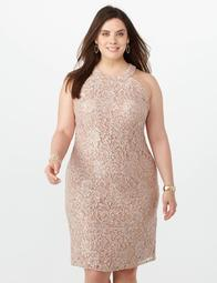 Dressbarn Plus Size Sequin Lace Halter Dress - $69.00