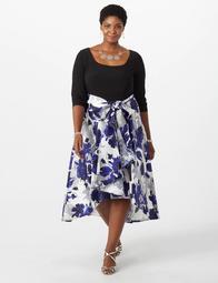 Dressbarn Plus Size R&M Richards Floral High-Low Flare Dress  