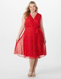 Dressbarn Plus Size Chiffon Star Faux Wrap Dress - $59.00