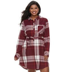 Kohls Juniors\' Plus Size SO® Plaid Shirt Dress | Shop Scenes