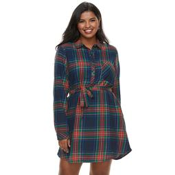 Kohls Juniors\' Plus Size SO® Lurex Plaid Shirt Dress - On Sale for $16.80  (regular price: $42.00)