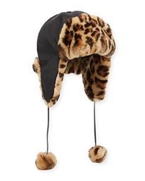 ae3af8368be3f Adrienne Landau Rabbit Fur Leopard Nylon Trapper Hat