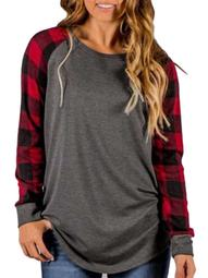 Blouses for Women Clearance Check Plaid Crew Neck Long Sleeve