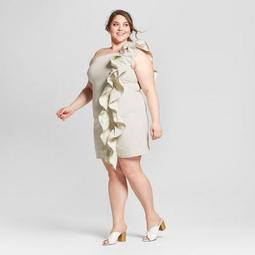 Who What Wear Women\'s Plus Size Striped One Shoulder Ruffle Mini