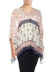 Plus Wildflower Tile Flutter Blouse