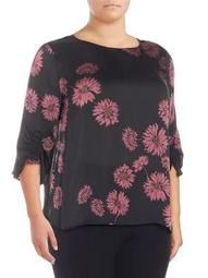 Plus Floral Ruched-Sleeve Top