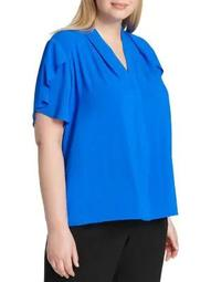 Plus Plus V-Neck Flutter-Sleeve Top