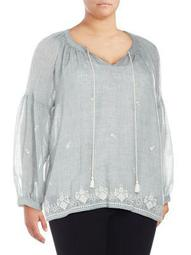 Plus Embroidered Tied Melange Gauze Top