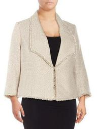 Three-Quarter-Sleeve Tweed Blazer Jacket