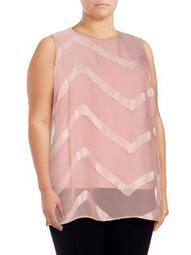Plus Sheer Chevron Overlay Top