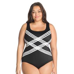 60ee0d6e376 Kohls Plus Size Great Lengths D-Cup Striped One-Piece Swimsuit
