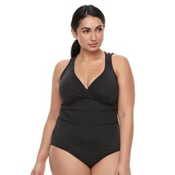 cebf483e7 Kohls Plus Size Apt. 9® Tummy Slimmer Strappy-Back One-Piece Swimsuit