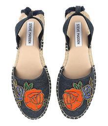 Steve Madden Mesa Beaded Rose Floral Embroidered Ankle Wrap Espadrilles