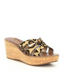 9dbb09a80 Sam Edelman Raynere Leopard Print Calf Hair Wedge Sandals