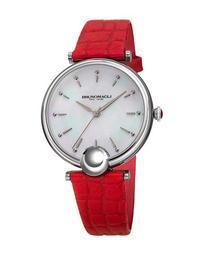 34mm Miranda Crocodile Watch, Red/Silver