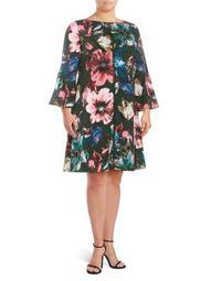 Plus Floral Printed Bell Sleeve Dress