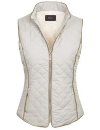 KOGMO Womens Quilted Fully Lined Lightweight Zip Up Vest with Fur Lining